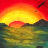 Magical Sunrise 2017. An abstract colorful watercolor painting illustration of a mystic valley while the sun rises. The specialty of this unique painting is royalty free illustration