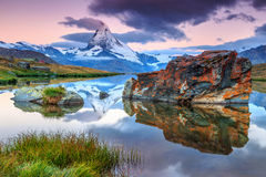 Magical sunrise with Matterhorn peak and Stellisee lake,Valais,Switzerland Royalty Free Stock Photo