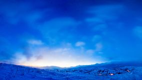 Magical sunrise in mountains. Winter landscape. Beautiful blue sky on frosty morning. Blue color concept stock image