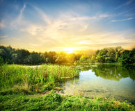 Magical sunrise over the river Stock Image