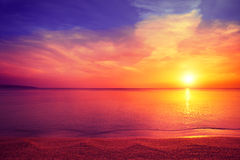 Magical sunrise over sea Royalty Free Stock Photos