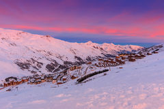 Magical sunrise and ski resort in the French Alps,Europe royalty free stock photos