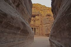 Magical sunrise at the Treasury. Petra, Jordan Stock Photos