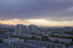 Magical sunset clouds above Beijing city of china. Beijing city, cityscape, skyline sunset cloud scene view stock images