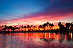 Magical sunset, Hawaii. Seascape, coconut trees, Hawaii resort stock photos