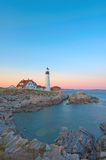Magical sunset at the iconic Portland Head Light. Stock Image