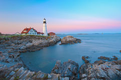 Magical sunset at the iconic Portland Head Light. stock images