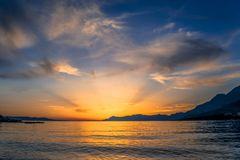 Sunset over the Adriatic sea, Makarska, Croatia royalty free stock image