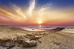 Magical sunset over Baltic Sea coast. Stock Photo