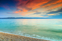 Magical sunset over the sea,near Makarska,Dalmatia,Croatia Stock Images