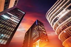 Magical sunset over skyscrapers. Stock Photo