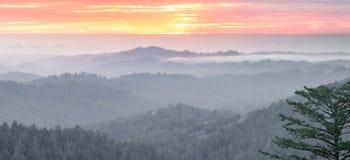 Magical Sunset Panorama over Santa Cruz Mountains Stock Photography