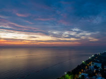 Magical sunset in Pattaya. Magical sea view at sunset in Pattaya, Thailand Royalty Free Stock Image