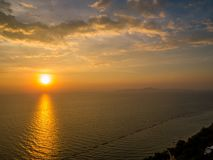 Magical sunset in Pattaya. Magical sea view at sunset in Pattaya, Thailand Royalty Free Stock Photo