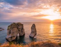 Magical sunset in Beirut, Lebanon Royalty Free Stock Image