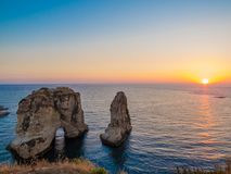 Magical sunset in Beirut, Lebanon Royalty Free Stock Photos