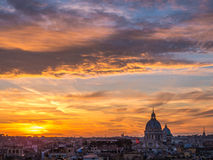 Magical sunset in Rome. From Trinità dei Monti, over the Spanish Steps Stock Photography