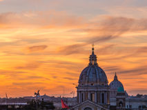 Magical sunset in Rome. From Trinità dei Monti, over the Spanish Steps Stock Photos