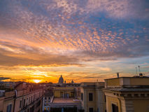 Magical sunset in Rome. From Trinità dei Monti, over the Spanish Steps Royalty Free Stock Photo