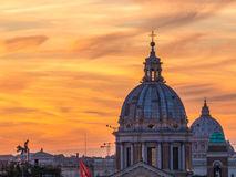 Magical sunset in Rome. From Trinità dei Monti, over the Spanish Steps Royalty Free Stock Photography