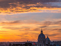 Magical sunset in Rome. From Trinità dei Monti, over the Spanish Steps Stock Image