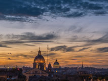 Magical sunset in Rome. From Trinità dei Monti, over the Spanish Steps Royalty Free Stock Images