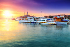 Magical sunset with Rovinj harbor,Istria region,Croatia,Europe Stock Image