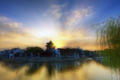 The magical sunset at Suzhou Shantang. A panorama traditional landscape view of Suzhou ancient city Royalty Free Stock Photos