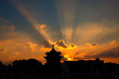 The magical sunset at Suzhou china, sun burst. A panorama traditional landscape view of Suzhou ancient city Royalty Free Stock Photography
