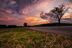 Magical sunset and thick clouds. Moravian landscape Podoli Stock Photo