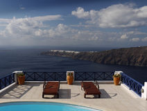 Magical Terrace Relaxation Banner  Header Vacation  Cyclades   Santorini Stock Photo
