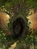 Magical tree with a cave framed by flowers. Magical tree with a large cave framed by flowers and plants. A green oasis in a barren forest. 3d render illustration stock image
