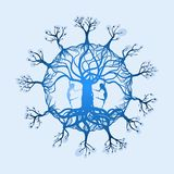 Magical Tree of Life with two dancers Stock Photos