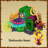 Magical underwater house a resident of the sea Stock Photo