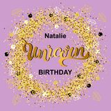 Magical Unicorn birthday. Handwritten lettering Unicorn as patch, stick cake toppers, laser cut plastic, wooden toppers.Template for invitation, Happy Birthday Royalty Free Stock Photos