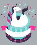 Magical Unicorn Coffee Poster. A coffee shop poster with a unicorn in a coffee cup and a blank banner Royalty Free Stock Photos