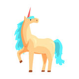 Magical unicorn horse with turquoise mane, mythical and fantastic animal vector Illustration Royalty Free Stock Image