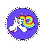 Magical unicorn with rainbow hair and stars on purple background in circle.Kids graphics for t-shirts.Unicorn vector head portrait. Horse sticker, patch badge Royalty Free Illustration