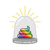 Magical Unicorn shit in Glass bell. Rainbow Fairy turd research. vector illustration
