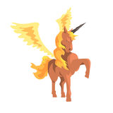 Magical unicorn winged horse, mythical and fantastic animal vector Illustration Royalty Free Stock Photography