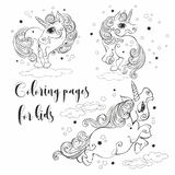 Magical unicorns coloring. For children Vector stock illustration
