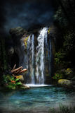 magical vattenfall för 2 skog Royaltyfri Foto