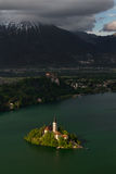 Magical view of Lake Bled with island. Lake Bled and island with Church of the Assumption, Slovenia. Julian Alps and The Triglav natioanal Park royalty free stock photography