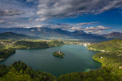 Magical view of Lake Bled. Lake Bled and island with Church of the Assumption, Slovenia. Julian Alps and The Triglav natioanal Park stock images