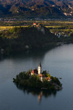 Magical view of Lake Bled with island. Lake Bled and island with Church of the Assumption, Slovenia. Julian Alps and The Triglav natioanal Park stock photos