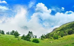 Magical view from the mountains to the valley Royalty Free Stock Photography