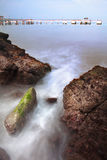Magical view of a rocky beach in Singapore, Asia Royalty Free Stock Photos