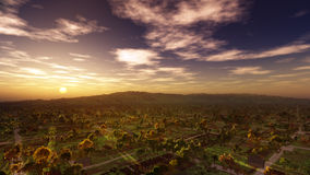 Magical Village Sunset Landscape Royalty Free Stock Photos