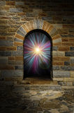 Magical vortex in a stone arch doorway. Magical blue and purple vortex in a stone arch doorway Royalty Free Stock Photography