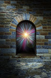 Magical vortex in a stone arch doorway Stock Image